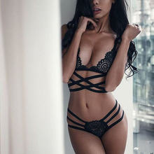 9388f4f00d Translucent Bandage Lace Cross Belt Hollow Bra 2018 Sexy Lingerie Bra Set  Intimates Ladies Underwear Set Lace Bra and Panty Set