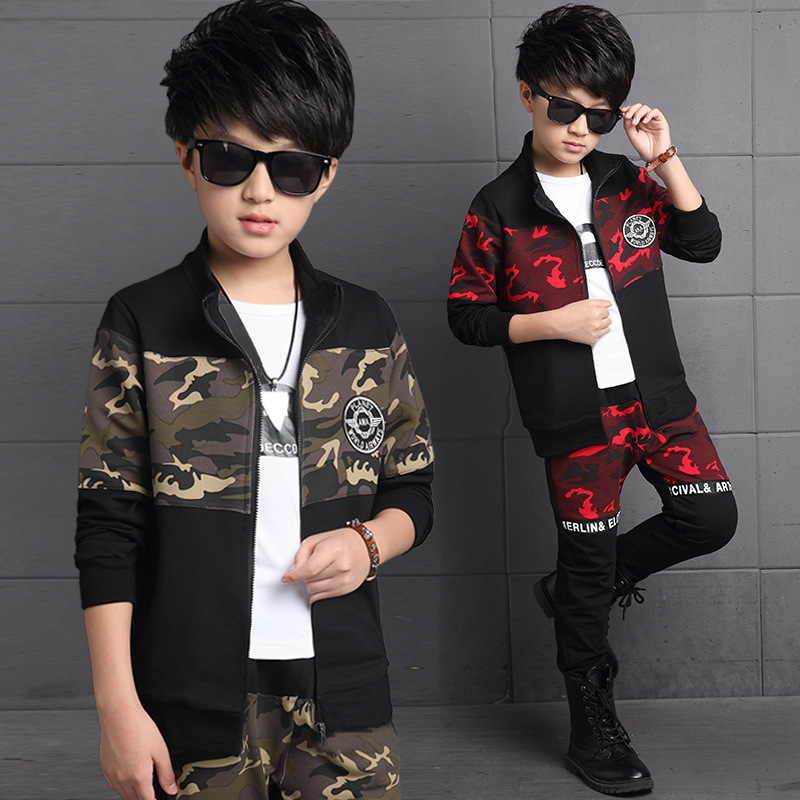 Childrens outwear fall 2017 boys clothing set black camouflage set 12-14-15 age teenage children baby boys suit coat+ pants free<br><br>Aliexpress