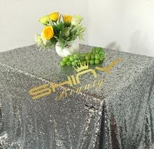 50''*72'' Overlay Sparkly Black Silver Sequin Table Cloth Linens Wholesale Sequin Fabric Table Wedding Decoration