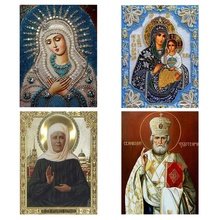 24*33cm 5D Diamond Embroidery Diamond Mosaic Russia Human Virgin and Child Round Rhinestones Diamond Painting Cross Stitch Kit