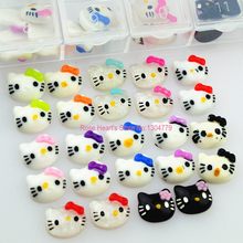 60PCS Acrylic 3d Flat back hello kitty resin rhinestone For Nail Art Tips DIY Decorations Cell Phone Accessories(China)