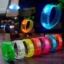 Party Rave Concert Voice Control LED Light Bracelet Bangle Sound Activated Glows(China)