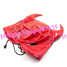 Red Adjustable Bondage hoods Mask Sexy toys for Couple Adult Game Patent leather Slave hood Fetish HD.00122
