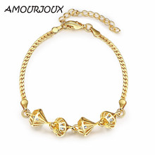 AMOURJOUX Elegant Rose Gold Color Hhollow Circular Charm Bracelets & Bangles With Clear CZ Female Link Bracelet Jewelry Woman