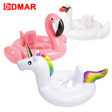 "DMAR 83cm 33"" Inflatable Flamingo Unicorn Swan Giant Pool Float Toys for Kids Baby Swimming Ring Circle Inflatable Mattress(China)"