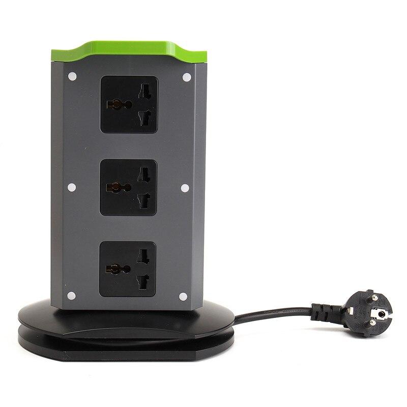 HOT 1X Fire Retardant EU/UK Plug Stand Vertical 8 Plug 2 USB Port Electrical Extension Socket Plug Adapter Connector<br>