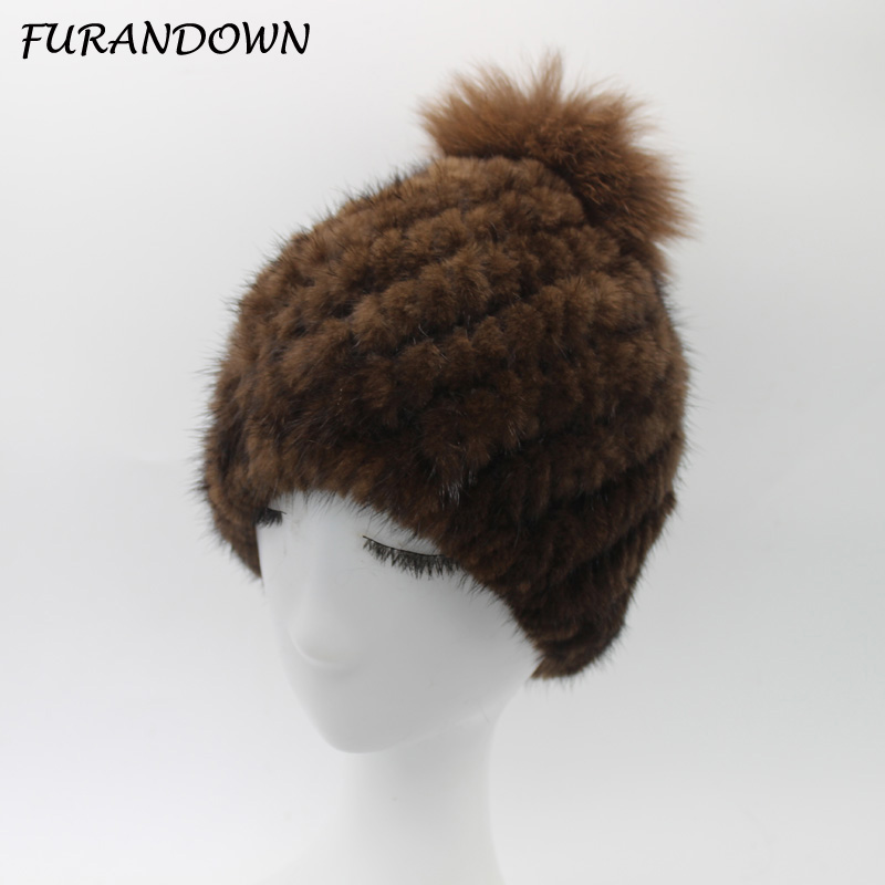 FURANDOWN Winter Mink Fox Fur Hats For Women Warm Knitting Fox Fur Pompom Beanies Caps FemaleÎäåæäà è àêñåññóàðû<br><br>
