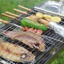 22.5 x 22.5 cm Barbecue Meshes Camping Grill Rack BBQ Clip Folder Square Grill Fish Vegetable Tool Wooden Handle Hinged Basket