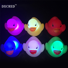 Led Float Water Swimming Child's Play Mouth Mini Small Rubber Duck light-up toy Educational for Children Baby Bath Toys