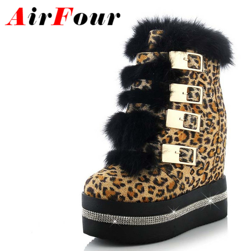 Airfour Leopard Sexy Wedges Women Boots Shoes New Round Toe Buckle Strap High Boots Winter Platform Ankle Boots 3 Colors Shoes<br><br>Aliexpress