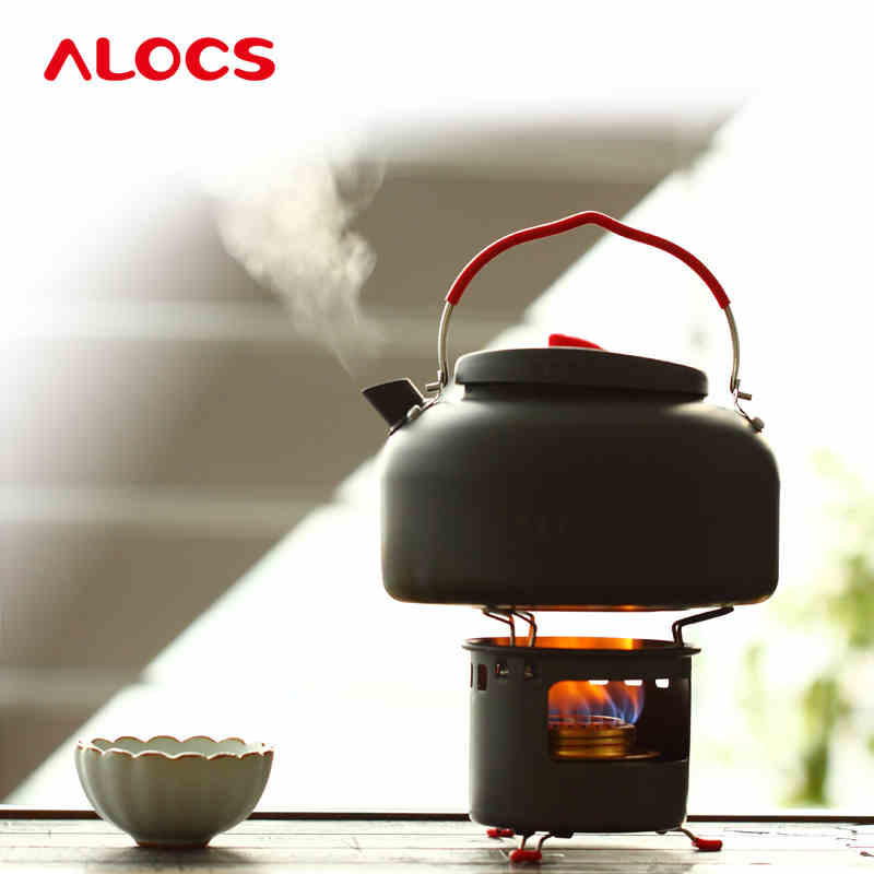 Outdoor Alcohol Stove And Coffe Kettle Set Cooking Portable Alcohol Furnace Gas Mini Stoves Camping Water Tea Cookware W/Flint<br><br>Aliexpress