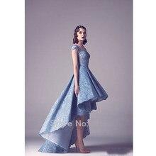 fashion high low evening dresses 2016 cap sleeve backless blue lace women  pageant gowns formal prom party dress vestido de festa cd2da33e362c