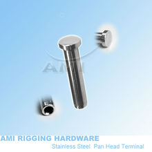 5mm wire, Pan head terminal, stainless steel 316, cable end fitting, cable railing, wire rope end fitting, deck railing(China)