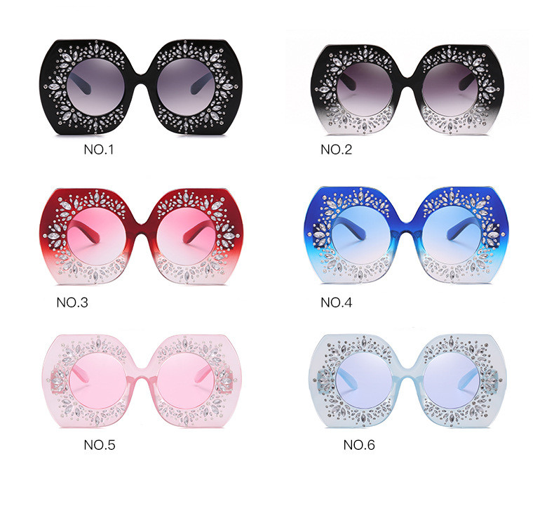 New fashion  Luxury crystalstone Round Sunglasses Women  Sun Glasses for Woman Celebrity Party Summer Beach Ladies Shades DZ0151