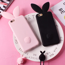 The latest Japanese and Korean super cute rabbit ears phone case for Apple iphone7 7plus 6 6s soft silicone tape lanyard cover