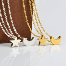 Cute Moon Star Pendant Chain Necklace Women Choker Necklace Collar Necklaces for Women Gift Free shipping