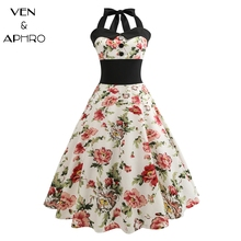 VA High Waist Tunic Women Vintage Dress 2017 Fashion Spaghetti Strap Halter Dress 50s Retro Dress Vestidos For Women