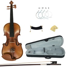 Kinglos Full Size 4/4 3/4 1/2 1/4 1/8 Solid Wood Advanced Violin Kit Jujube Fittings with Shoulder Rest Bow Rosin(China)