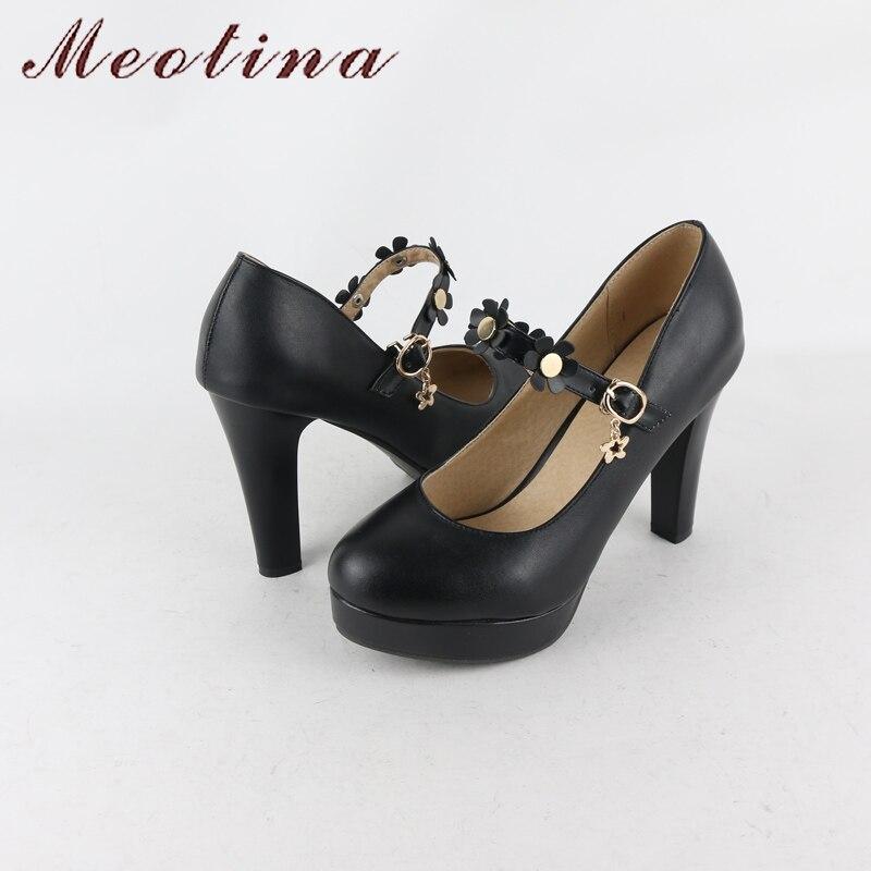 Meotina Women Mary Janes Shoes Pumps Platform High Heels Flower Party  Wedding Shoes Plus Size 42 43 Buckle Strap Shoes Female.  HTB1iKCxRpXXXXaoXFXXq6xXFXXXe 5dd9c65be194