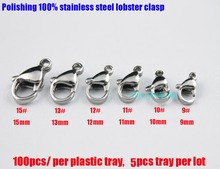 500pcs good polishing 9#-10#-11#-12#-13#-15# 100% stainless steel lobster clasp fashion jewelry hook accessories parts