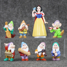 8pcs/lot 3th Generation Children girl toy snow white seven 7 Happy Dwarfs princess toys Figurine Doll(China)