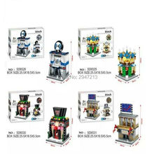 hot 4 PZ sembo block Mini City View Auto 4S shop Hotel stock exchange Magic Hall compatible lepin city Building blocks toys gift