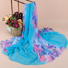Scarf Hot Sale Adult Fashion 2017 New Lady Large Long Chiffon Summer Beach Flowers Print Scarf Wholesale Cheap Shawl Women