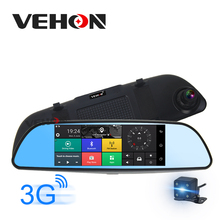 "VEHON 7"" 3G Car Camera DVR GPS Bluetooth Dual Lens Rearview Mirror Video Recorder Full HD 1080P Automobile DVR Mirror Dash cam(China)"