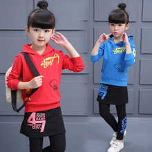 Children's Sports Clothing Child Girls Autumn Long-Sleeve + Pants 2pcs Set Culottes Sport Clothes Girl Cartoon Letter two Suit