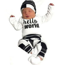 2017 autumn baby boy clothes long sleeve letter t-shirt+pants+cap newborn 3pcs suit baby girl clothing set infant outfits