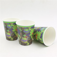 birthday party decoration paper drinking glasses/cups ninja turtles theme for kids boys favors party disposable tableware 10pcs