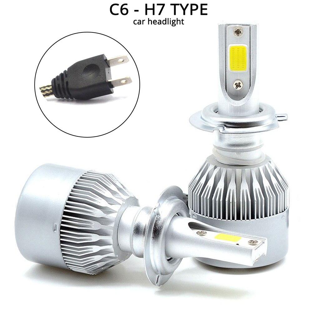 Hviero White Cob Headlight C6 H1 H3 H4 H7 H11 HB3 9005 HB4 9006 Car Led 72W 7600lm Auto Front Fog Drl Bulb Automobile Headlamp 6500K 12V Car Lighting