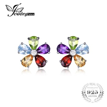 Jewelrypalace flor 4.3ct multicolor natural ametista citrino garnet peridot topázio azul brincos prata esterlina 925