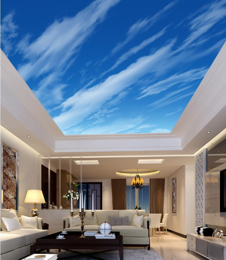 3D Wallpaper Ceiling Blue sky and white clouds Customize Wallpaper For Walls 3 D Ceiling Wallpaper Living room Bedroom<br>