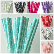 25pcs/lot Pink/Purple/Blue Paper Straws For Kids Birthday Wedding Decorative Party Straws Event Supplies Paper Drinking Straws