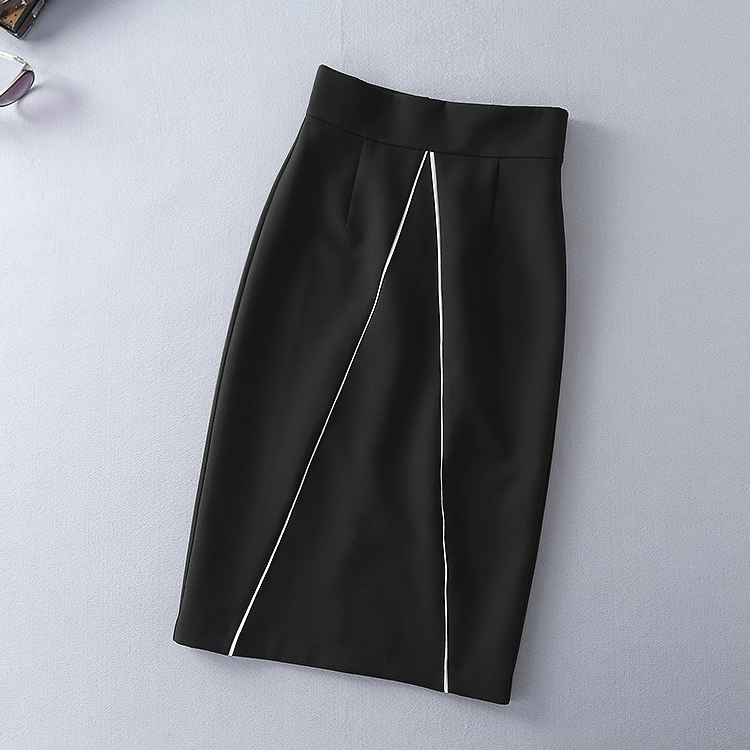 Two Pieces Set New Skirt Suits 17 Autumn Winter Women Turn-down Collar Black Blouses+Mid-Calf Length Pencil Skirts Clothing 11