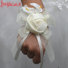 Wifelai-a1 pcs/lot Ivory Silk Rose Flowers PE Calla Lily Wrist Flowers Bride Ribbon Wedding Corsage Hand Flowers(China)