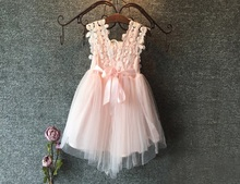 High Quality 2015 XMAS Baby Girl Princess Party Pearl Lace Tulle Flower Gown Fancy Dress Sundress