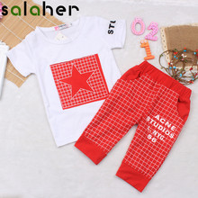 2017 Brand Summer Star Pattern Kids Clothes Sets Baby boy Clothes T-shirt + Medium Pants Newborn Sport Suits Baby Set(China)