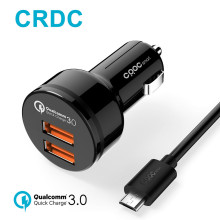 CRDC Quick Charge 3.0 Car Charger dual Ports QC 3.0 USB Car Phone Charger for iPhone Xiaomi Samsung LG,same as Aukey car charger(China)