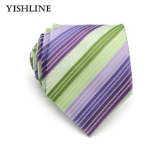 XT119 Formal Neck Ties 8cm Business Vestidos Wedding Classic Men's Tie Green Purple Stripe Corbatas Accessories Gift men necktie(China)