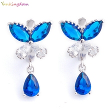 Yunkingdom Wholesale/retail drop earrings blue Cubic Zirconia white gold color simple elegant earrings for women K1412