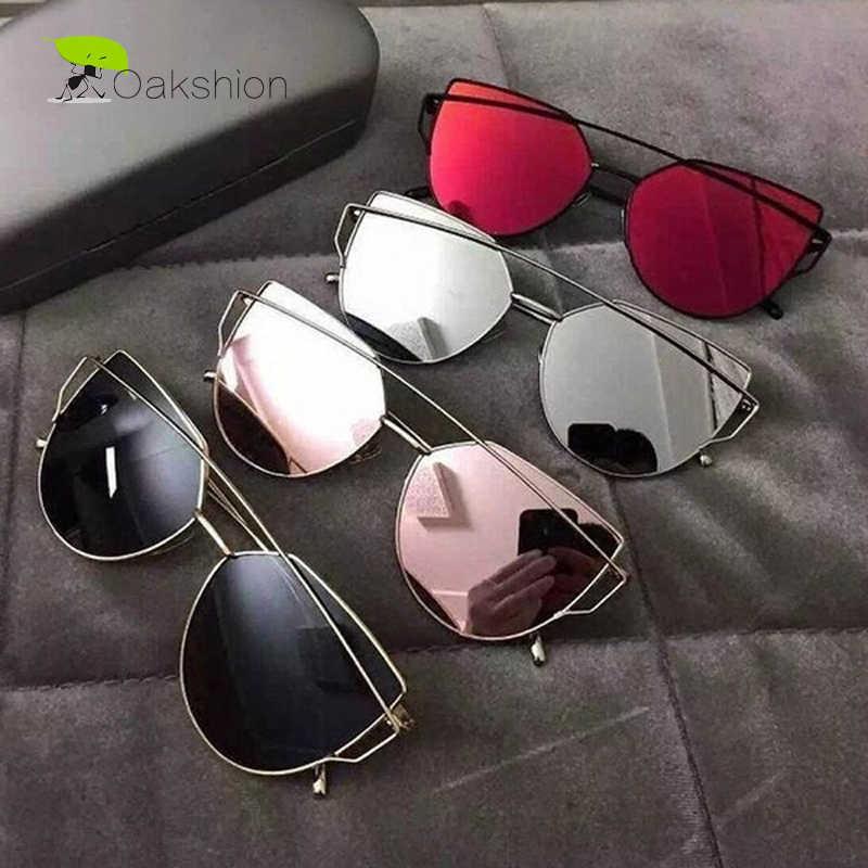 2018 nuevo ojo de gato moda Gafas de sol mujer diseñador de marca espejo  lente plana 2e924bd85bf4