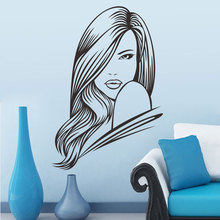 Long-haired Salon girl vinyl sticker Removable Hairdresser Hairstyle Wall Sticker Generation pvc wall stickers(China)