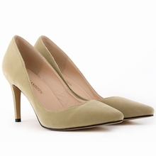 Classic Sexy Pointed Toe mid High Heels Women Pumps Shoes Faux Suede Spring Brand Wedding Pumps Big Size 35-42 10 Color 952-1VE