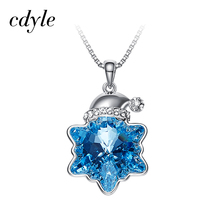 Cdyle Crystals From Swarovski Pendants Women Necklaces Austrian Rhinestone Star Shaped Blue White Christmas Gift Jewelry Bijous(China)