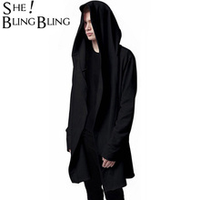 Men Hooded Jacket Black Gown Best Quality Hip Hop Mantle Hoodie Sweatshirts long Sleeves Cloak Coats Outwear Man Fashion(China)