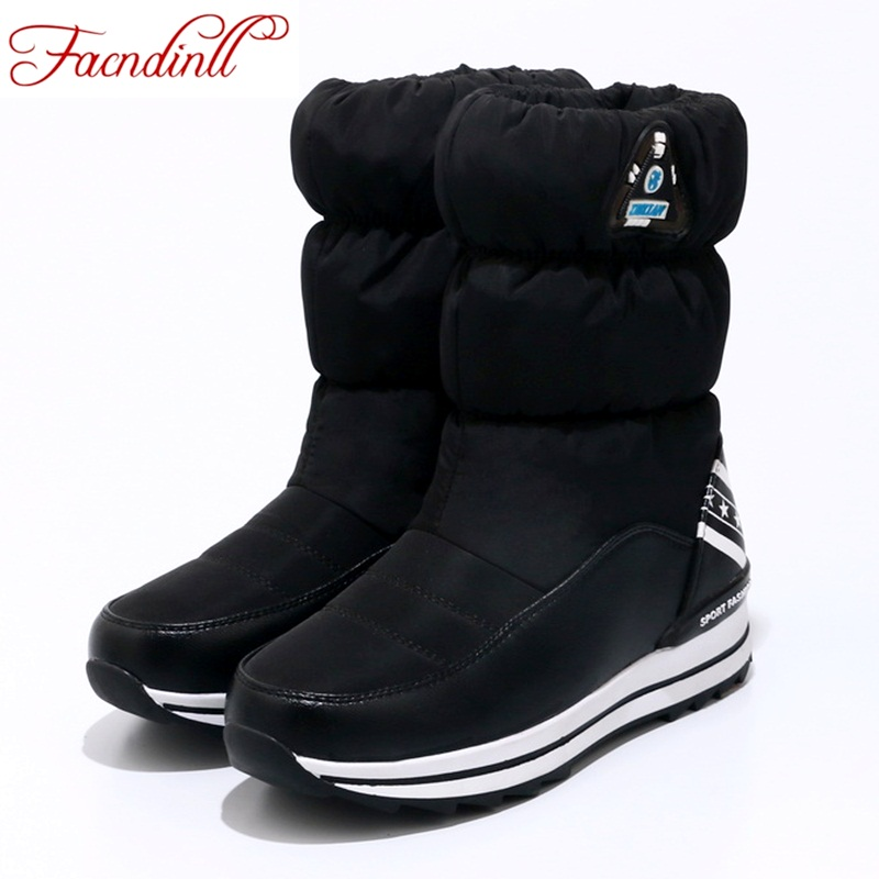 FACNDINLL Plus size 34-40 new winter snow boots women warm cotton down shoes waterproof boots fur platform ankle boots black red<br>