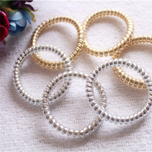 Wholesale Hot Sell Gold/Silver Elastic Rubber Telephone Wire Hair Rope Ponytail Holder Party Hairband Hair Accessories