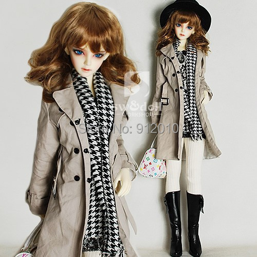 Classic Long Trench Coat Unisex Ffor BJD Doll 1/4 MSD 1/3,SD16,Uncle SD LUTS DOD,AS,DZ Doll Clothes Clothing<br>
